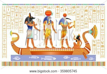 Egyptian Papyrus With Gods In Boat. Anubis, Ra, Thoth, Ancient Egyptian Deities In Old Historical Pa