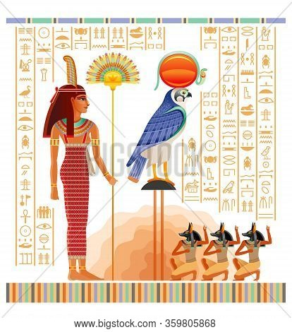 Egyptian Papyrus With Illustration From Tomb Of Nakht In Luxor, Afterlife Duat Vector. Gods Ra And A