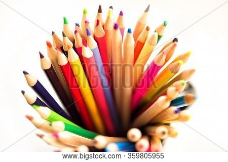 Top View Of Assortment Of Colored Pencils. Colored Drawing Pencils. Colored Drawing Pencils In A Var