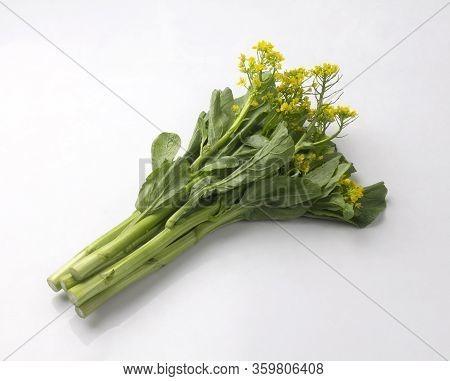 Fresh Chinese Flowering Cabbage Isolated On White Background