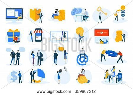 Flat Design Concept Icons Collection. Vector Illustrations Of Business And Finance, Marketing, M-com