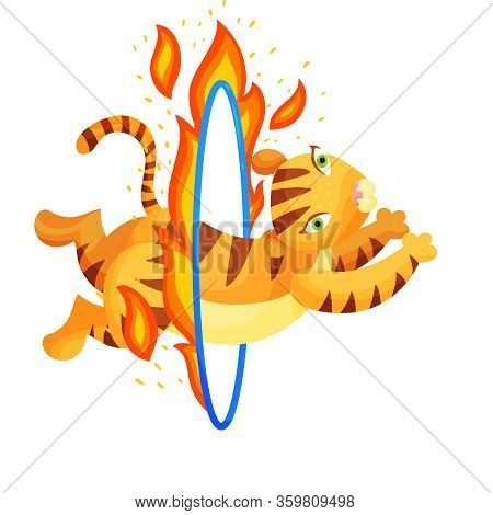 Tiger Jumping Through Fire Ring Flat Vector Illustration. Trained Animal At Circus Show Cartoon Char