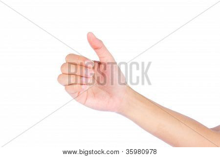 Hand Of A Caucasian Female To Hold Card, Mobile Phone, Tablet Pc Or Other Palm Gadget, Isolated On W