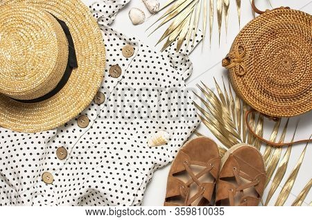 Summer Womens White Dress In Black Peas Rattan Woven Bag Brown Sandals Straw Hat Golden Palm Leaf Sh