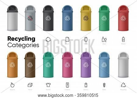 Garbage Cans Vector Flat Illustration. Garbage Cans With Sorted Garbage Icons. Ecology And Recycle C