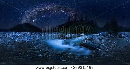 The Milky Way Arc Over Mountain River In The Middle Of The Forest On A Long Exposure. Spherical Pano