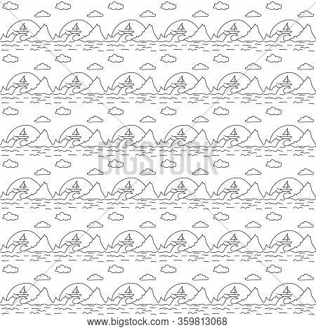 Vector Illustration Background Seamless Image Pattern Contour Landscape Small Yacht Boat On The Peak