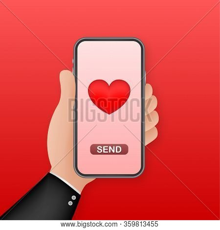 Smartphone Hand Love. Social Network Concept. Hand Holding Mobile Phone. Like Icon. Mobile Internet,