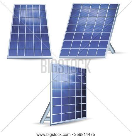 Realistic Detailed 3d Solar Panels Set Alternative Renewable Energy Power Concept. Vector Illustrati