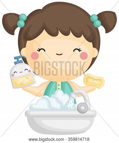 A Vector Of Cute Girl Holding Foaming Soap And Water