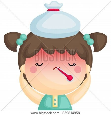 A Vector Of Cute Sick Girl Having Fever With Thermometer In Her Mouth