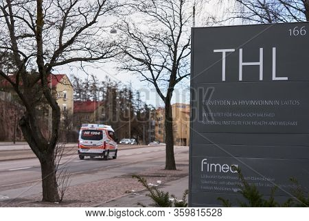Helsinki, Finland - April 4, 2020: Outdoors Sign Of The (finnish) National Institute For Health And