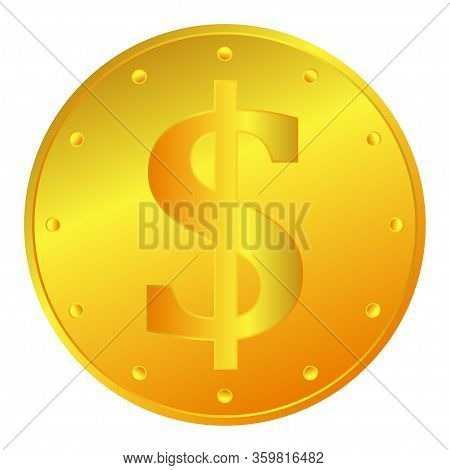 Gold Dollar Coin Icon. Gold Money Or Investment Illustrations As A Simple And Fashionable Symbol For