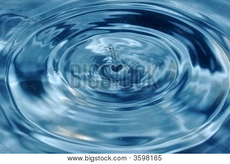 The drop falls in water on which there are circles and waves poster
