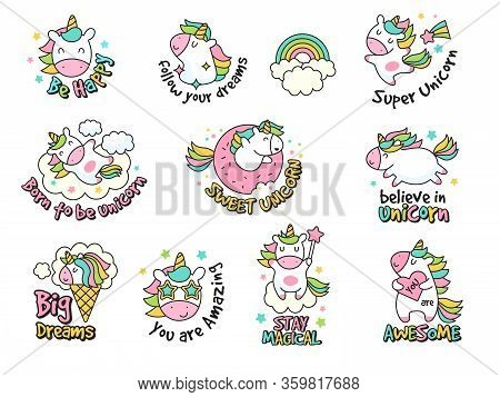 Unicorn Labels Collection. Retro Fashioned Stickers And Badges With Fantasy Funny Characters Vector