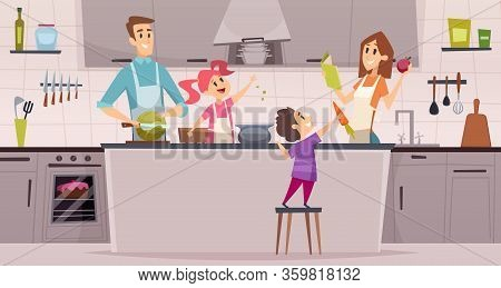 Family Kitchen. Kids Boys And Girls Helping Preparing Food To Their Parents Vector Cartoon Backgroun