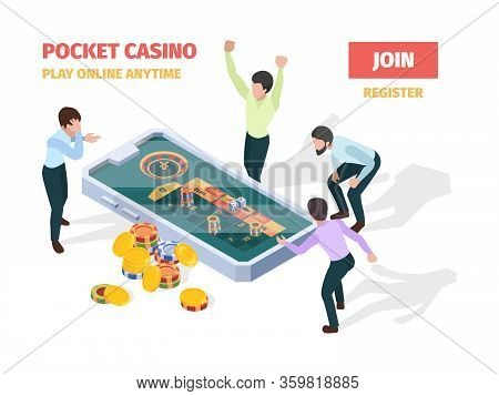 Online Casino. Winners Lucky Happy People Playing Roulette Blackjack Gambling On Smartphones And Tab
