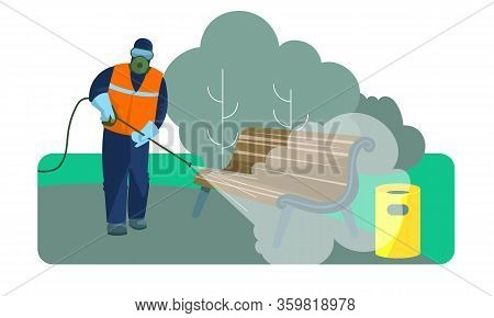 A Person In A Protective Suit Is Engaged In Disinfection Of Public Areas