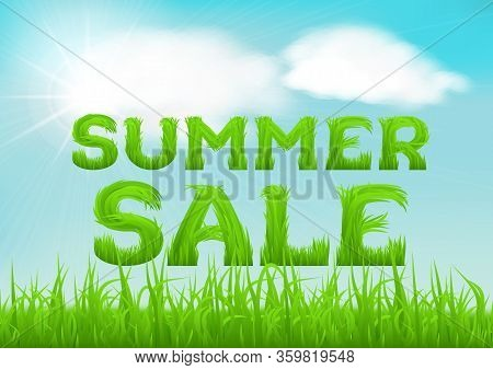 Summer Sale Inscription Made Of Grass. Summer Background With Fresh Green Grass On Blurred Soft Back