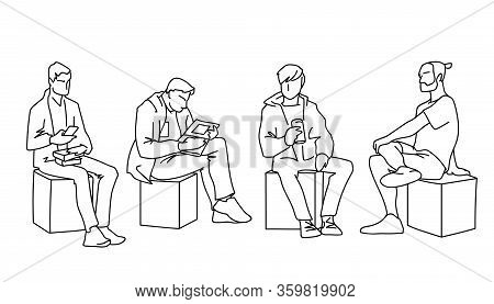 Men Sitting In Different Poses. Black Lines On White Background. Concept. Vector Illustration Of Var