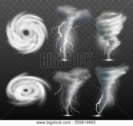 Weather Tornado. Water Cyclonic Storm Nature Power Vector Realistic Tornado Pictures. Cyclone Storm