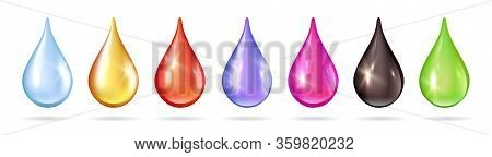 Colorful Liquid Drops. Isolated Oil Water Honey Blood Jam Droplets. Realistic Colored Bubbles Vector