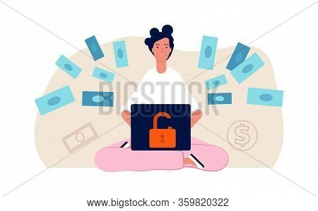 Hacker Attack. Cute Young Girl Hack Bank Online. Bad Money Safety, Woman Transfer Money Vector Illus