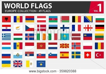 Flags Of Europe Collection. All Europe Flag Set Isolated.  Vector Stock