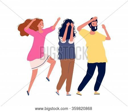 Scared People. Man Woman Scream With Fear. Isolated Frightened Persons Vector Illustration. Fear Fri