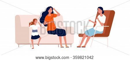 Children Psychologist. Angry Baby Girl, Bad Manners. Tired Mother And Screaming Daughter. Mental Pro