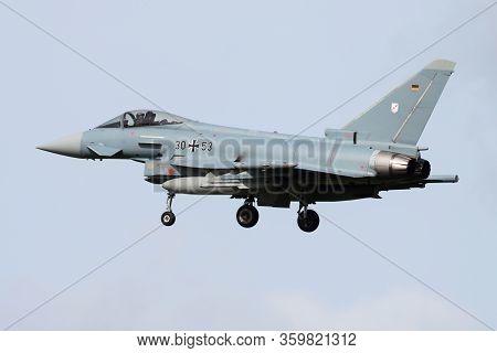 Leeuwarden / Netherlands - April 13, 2015: German Air Force Luftwaffe Eurofighter Typhoon 3053 Fight