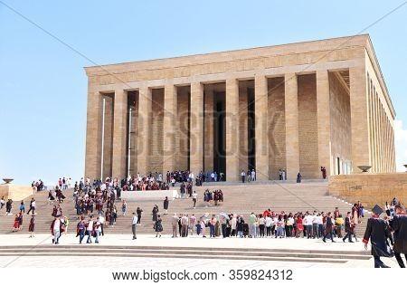 ANKARA, TURKEY -  11 JUNE, 2019: Tourists and school graduates in the mausoleum of Turkish leader Mustafa Kemal Ataturk