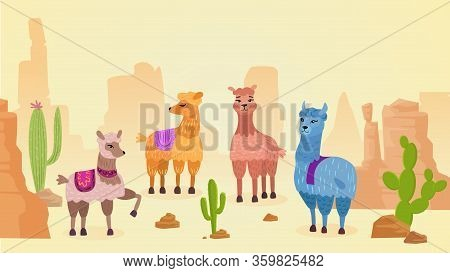 Lovely Lamas Character Hand Drawn Cartoon Vector Illustration Landscape. Different Colors And Moods