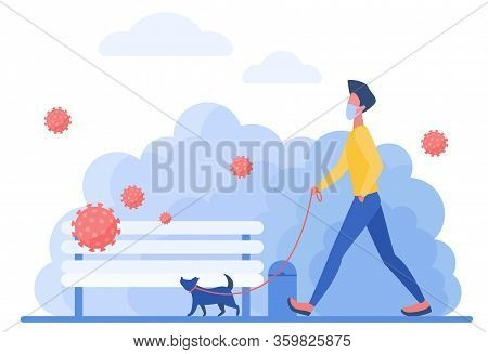 Athletic Man In Medical Mask With Dog Character Flat Concept Vector Illustration. The Owner Walks Wi