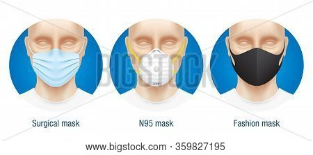 Comparison Of Different Type Face Masks. Vector Set Of N95, Surgical And Fashion Medical Masks. Rang