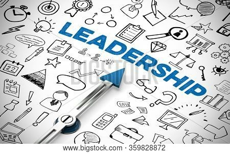 Leadership as a target on compass with icons as a concept for leadership and management (3D Rendering)