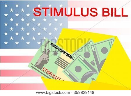 Individual Checks And Dollars On American Flag. Financial Incentive Bill. Coronavirus Covid-19 Conce