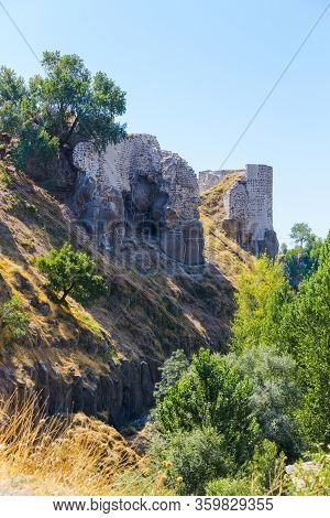 Bitlis Fortress Ruins, Eastern Turkey, Bitlis Province. Fortress Walls On A Hill Above The City.