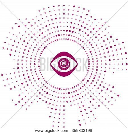Purple Hypnosis Icon Isolated On White Background. Human Eye With Spiral Hypnotic Iris. Abstract Cir