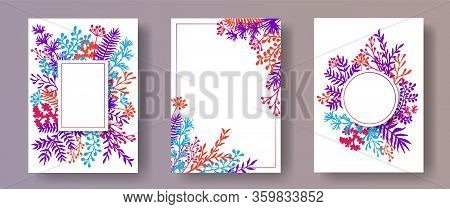 Tropical Herb Twigs, Tree Branches, Flowers Floral Invitation Cards Templates. Bouquet Wreath Elegan