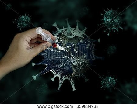 Retouching Concept Healing Virus Pandemic World With Antigent Blood Vaccine