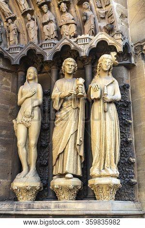 Trier, Germany - September 19,  Figures On Portal St. Peter In Trier, Rhineland-palantine
