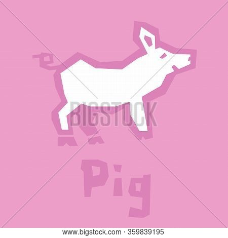 Illustration Of Cute Pretty Pig. Vector Flat Stylized Piglet Isolated On Pink Background. Baby Lovel