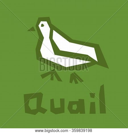 Quail Logo Design. Vector Stylized Bird Illustration Isolated On Green Background. Cute Quail Icon.