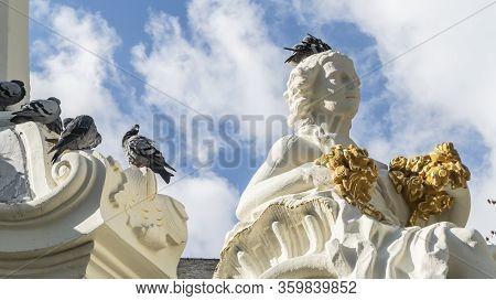 Trier, Germany - September 13, 2019 - The Sankt Georgsbrunnen (short: Georgsbrunnen) Is A Fountain I