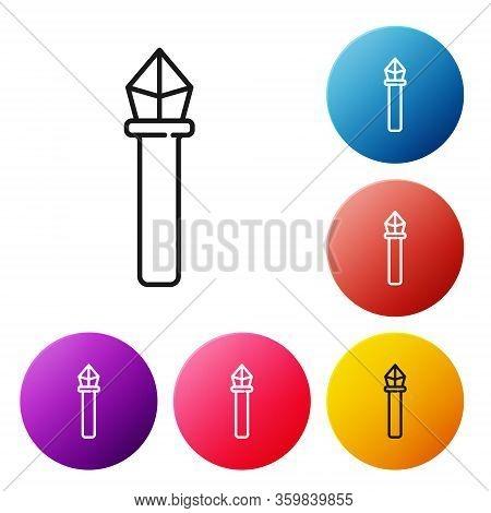 Black Line Magic Staff Icon Isolated On White Background. Magic Wand, Scepter, Stick, Rod. Set Icons