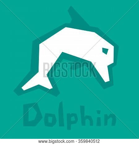 Dolphin Paper Cut. Brutal Modern Style. Abstract Silhouette On Green Background With Text. Interacti