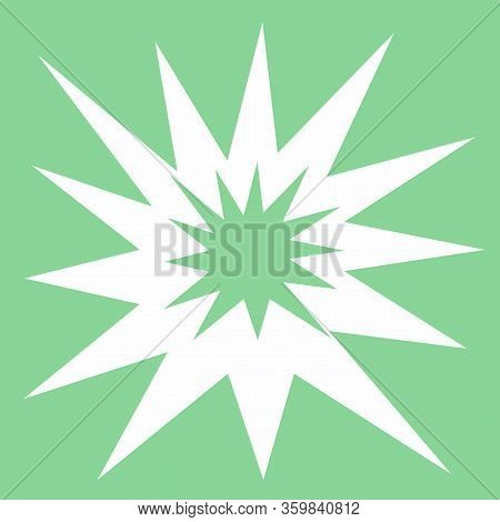 Starry Modern Square Tile, Geometry Shapes In Cold Tone. Irregular Shapes On Light Mint Background.