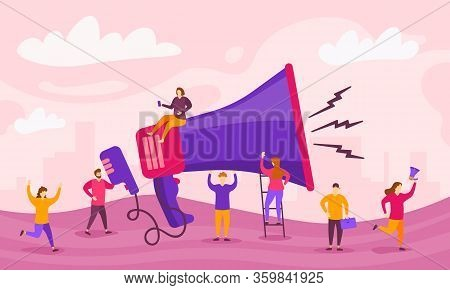 Megaphone And Characters People. Big Megaphone And Flat Characters Of Advertising. Marketing Concept