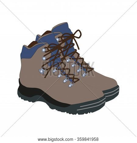 Hiking Boots Mountain Shoes Icon. Flat Illustration Of Hiking Boots Mountain Shoes